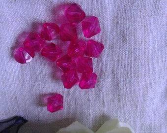 set of 20 bicones Fuchsia acrylic beads