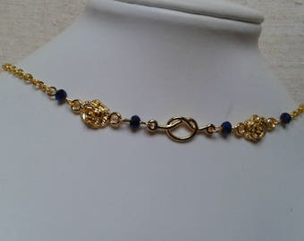 """Choker necklace """"Golden bow and flowers"""""""