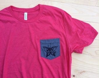 UNS Moth design,  Pocket tee.
