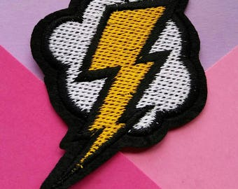 Lightening Cloud Iron On Patch/Applique/Embroidered Patch/Comic Patch/Sewing Supplies/Jacket Patch