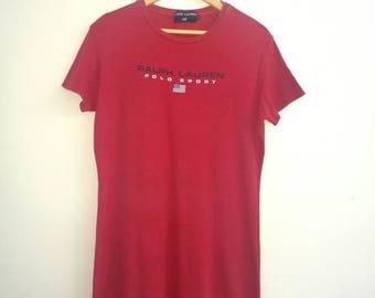 Long Shirt POLO SPORT Ralph Lauren Red Colour Large Size Women Dressed