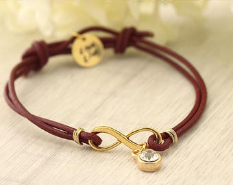 Infinity leather Bracelet Name Jewelry Custom gift Girlfriend Anniversary bracelet Birthday For Sister Friendship Adjustable bracelet Mother