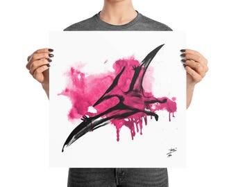 Crimson Pteranodon Watercolor Poster, 12x12, 16x16, 18x18, Boho Decor, Abstract Ink Print