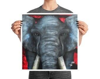 African Elephant Big Eyes Poster, 10x10, 12x12, 18x18, Modern Decor, Animal Nursery Print