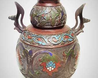An antique Japanese  Champleve double gourd bronze vase