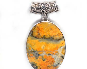 Bumble bee Jasper Handmade sterling silver Pendant