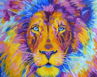 Лев знак Зодиака / Leo Zodiac sign. Картина-талисман маслом на холсте. 60х60 см