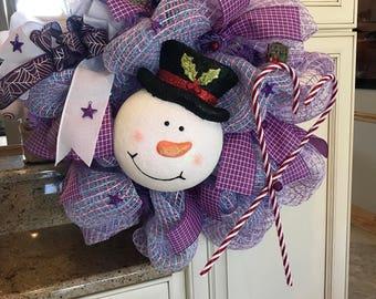 Snowman Purple Christmas Wreath