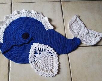 Whale blue wool white crochet floor room decor kids rug