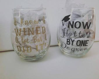 Set of two graduation wine glasses