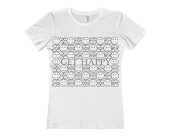 Get Happy Coloring WomenS The Boyfriend Tee