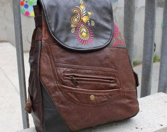 Backpack, leather, furniture fabric, Paisley, Upcycling