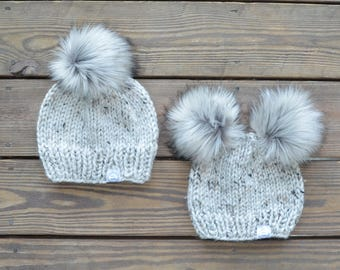 Mommy and Me Hats, Matching Hats, Mommy and Baby Hats, Fur Pom Pom Beanies, Pom Pom Hats, Knit Toque, Knit Beanie, Winter Hats