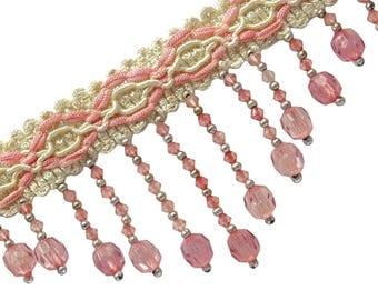 "Pink Beaded Fringe Trim, Designer Curtain Fringe Trim, Indian Upholstery Trim, 3"" Inch Wide Ribbon By The Yard FRT516G"