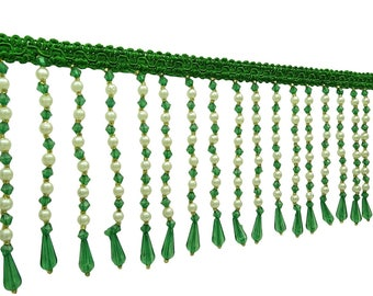 """Green Tassel Fringe Trim, Home Decor Trimmings, Craft Supplies, Beaded Fringe Trim, 4.1"""" Inch Wide Ribbon By The Yard FRT580G"""