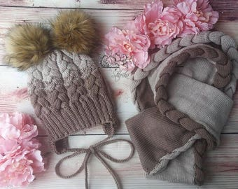Very interactive winter hat and long scarf from merino wool, warm and nice knitting for kids