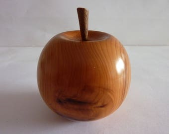 Wooden Apple,Handturned in Yew wood,Ideal Gift For All occasions.