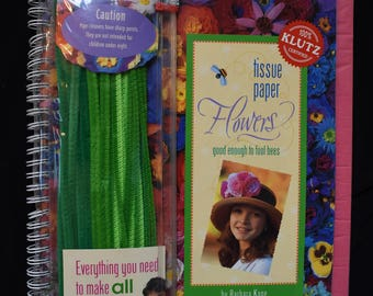 KLUTZ Tissue Paper Flowers with Other Spiral-bound 2000 USA NEW
