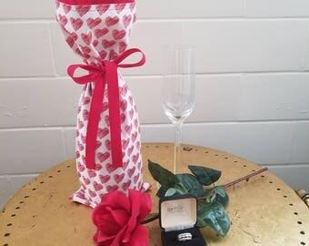 Hearts Fabric Wine Bag: Happy Valentines Day