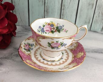 Lady Carlyle Royal Albert Teacup and Saucer Set Vintage Fine Bone China Porcelain Lovely! Made in England