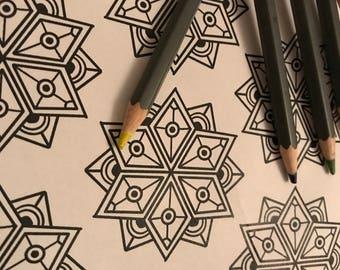 Geometric star design to colour in!