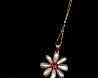 Pearl Ruby Necklace 10K