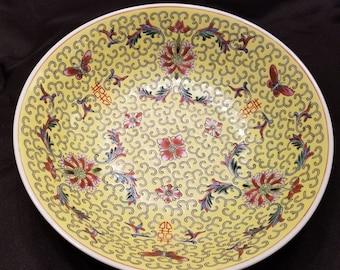 "2 Large 9"" 1950's Chinese Jingdezhen Famille Rose Porcelain Bowl"