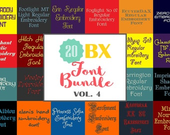 Machine Embroidery Fonts - 20 BX Font Bundle - Volume 4
