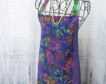 Purple/Green Multi Colored Reversible Apron with Pockets