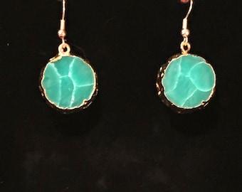 Green turquoise stone earrings
