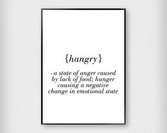 Hangry Definition Print | Kitchen | Black and White | Typography - Hungry - Poster