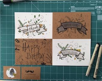 Set Greeting Cards Flower Power
