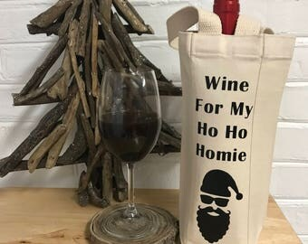 Funny Christmas Gift| Coworker Gift | Coworker Gift Christmas | Christmas Wine Bag | Ho Ho Homie | Wine Gift | Wine Christmas Gift