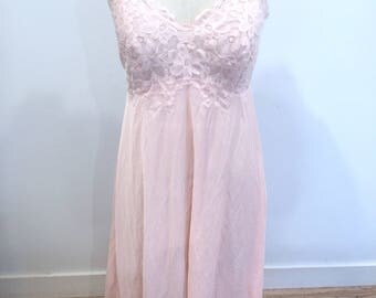 Vintage, 50s, 60s, Sz 38, Sz 10, Sheer, Nightgown, Pink, Excellent Rare!