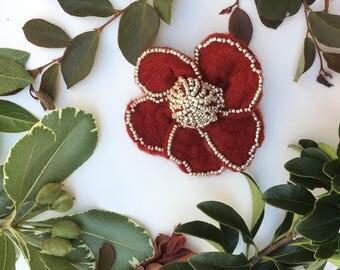 Burgundy Flower Brooch, Handmade Burgundy Flower, Gift,Felted Flower,Hand Felted Brooch,Wool Jewelry felted brooch,Wool Accessorie,Brooch