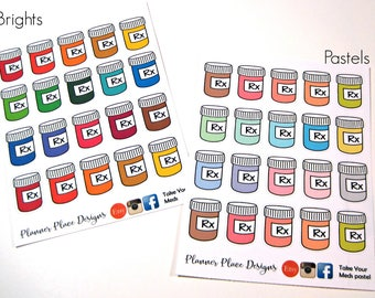 Pill Bottle Stickers - Prescription Stickers - Planner Stickers - Erin Condren Stickers - Happy Planner Stickers - Functional Stickers