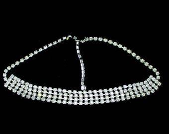 Beautiful Vintage White Rhinestone Costume Jewelry Necklace