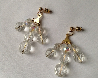 Vintage glass crystal bead earrings c1960s
