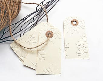 10 labels 40x80mm ivory embossed flowers