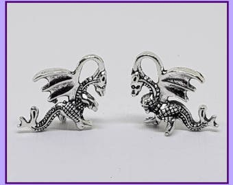 Dragon, Tibetan Silver Charm, 20mm x 15mm, Craft Charms For Jewellery Making, Metal Embellishments For Card Making, Magical Creature Charm,