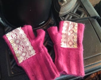 Antique  lace and repurposed  sweater fingerless  gloves