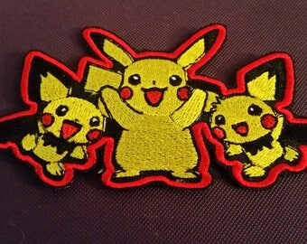 Pikachu Embroidered Iron On Pokemon Patches
