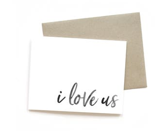 I Love Us | Card || Greeting Card | Love Card | Anniversary Card | Wife Card | Friend Card | Just Because Card | Valentine | Watercolour