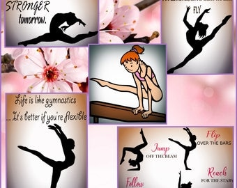Gymnastics SVG files - Gymnastics Layered and Silhouette files made for cricut and other cutting machines