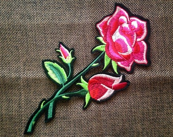 1pc pink rose Patch Embroidered  Sew On On Patch Applique go1004