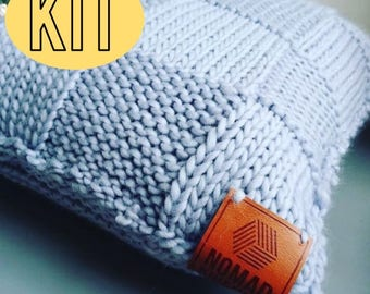 DIY Knitting Kit / Beginners Knit Kit / Cosy Cushion Cover / Cushion Super Chunky Knit / Basket Weave /Cushion Cover Knitting Pattern/Merino