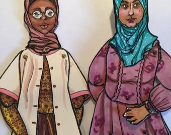 Hijabi Paper Doll - Downloadable Coloring Sheet (Digital Download)