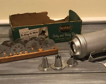 Vintage Mirro Cookie Press with wooden stand and original box