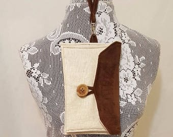 Chocolate suede clutch - Ivory linen - Linen clutch - Purse clutch - 3 pocket clutch - Suede 3 pocket clutch - Suede evening bag