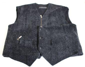 Black Velvet Vest Brand DORIS HARTWICH buttons and zip up Boyfriend Gift Folk Country festival  Vest Velvet Waistcoat Large Size